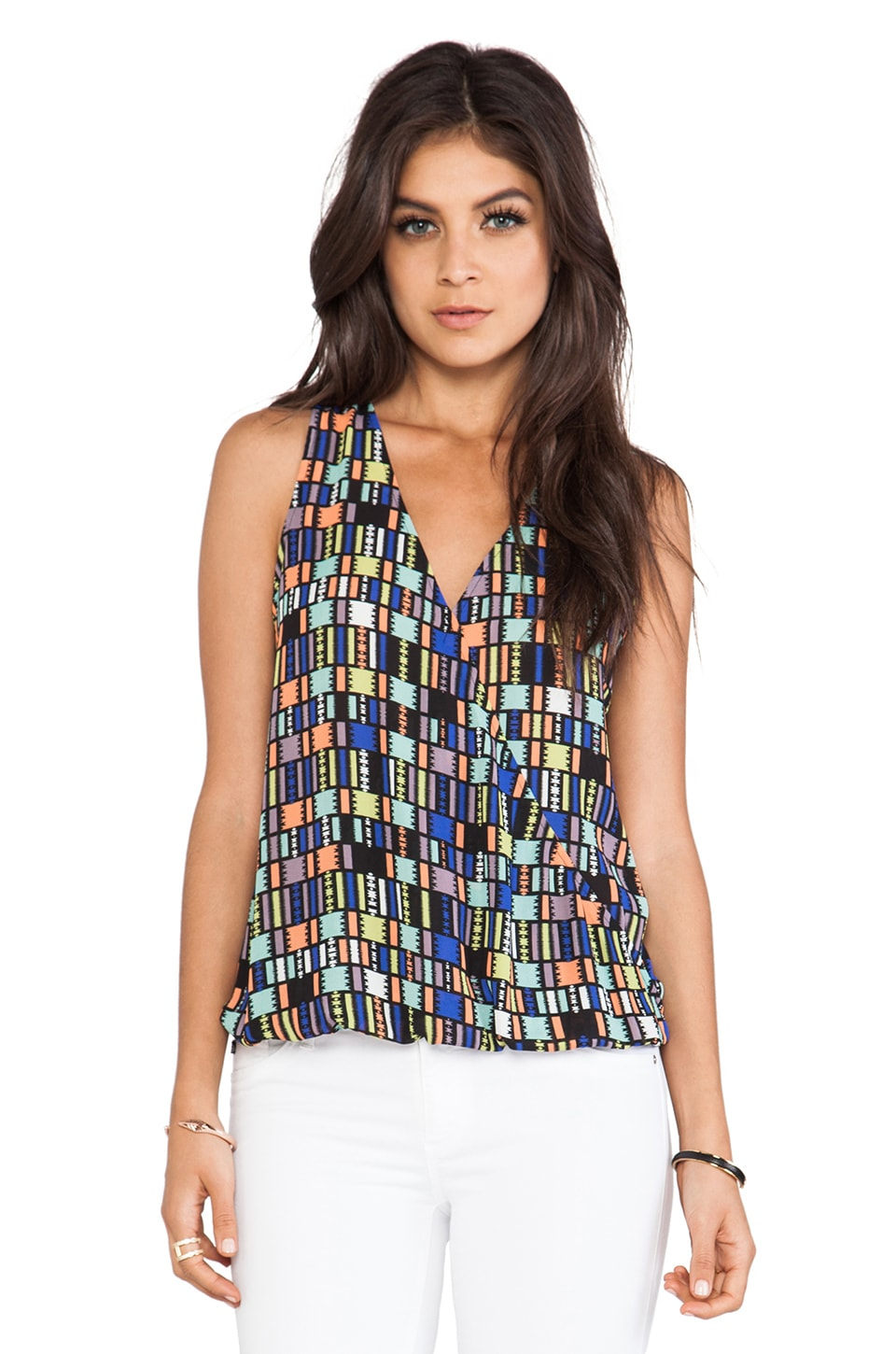 Eight Sixty Wrap Tank in Tribal Print