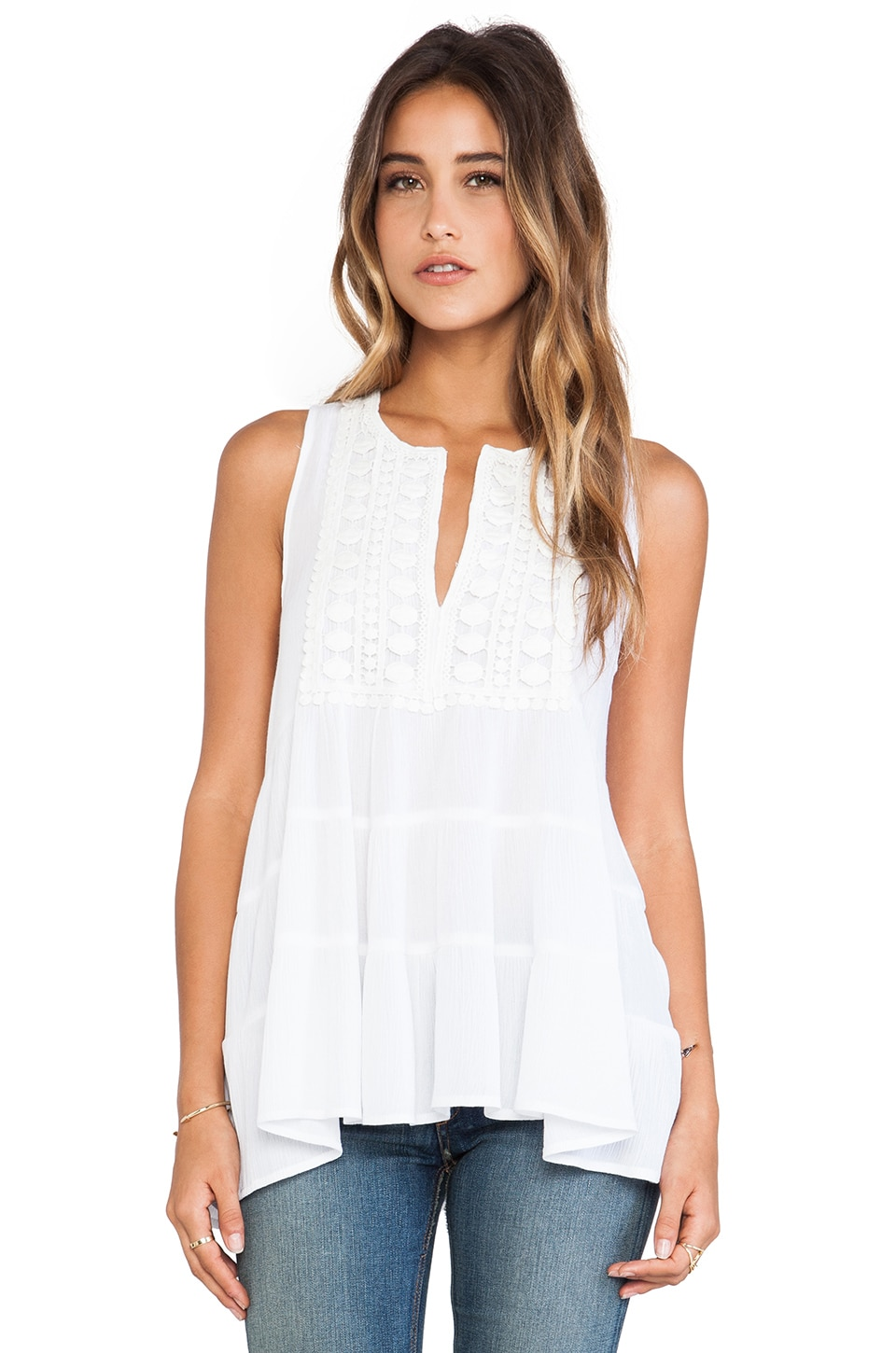 Eight Sixty Gauze Top in White