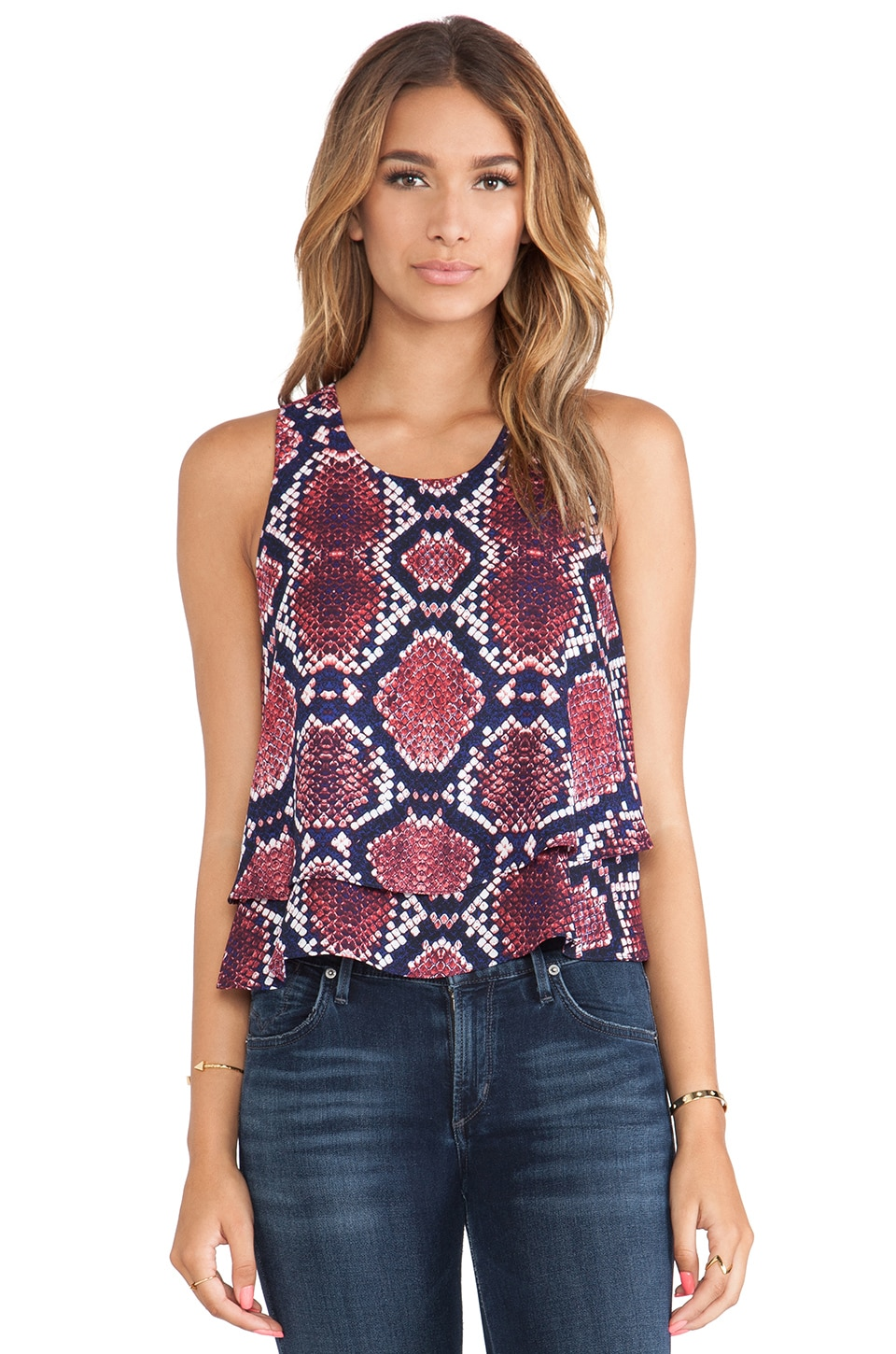 Eight Sixty Monte Python Print Double Tank in Red, Purple & Royal