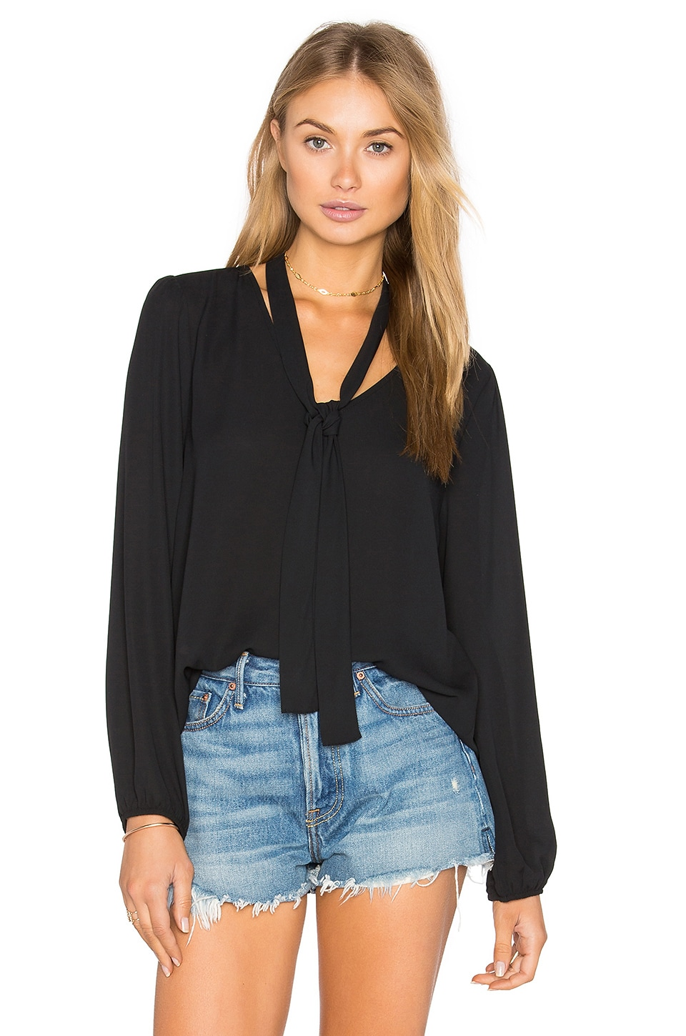 Long Sleeve V Neck Blouse by Eight Sixty