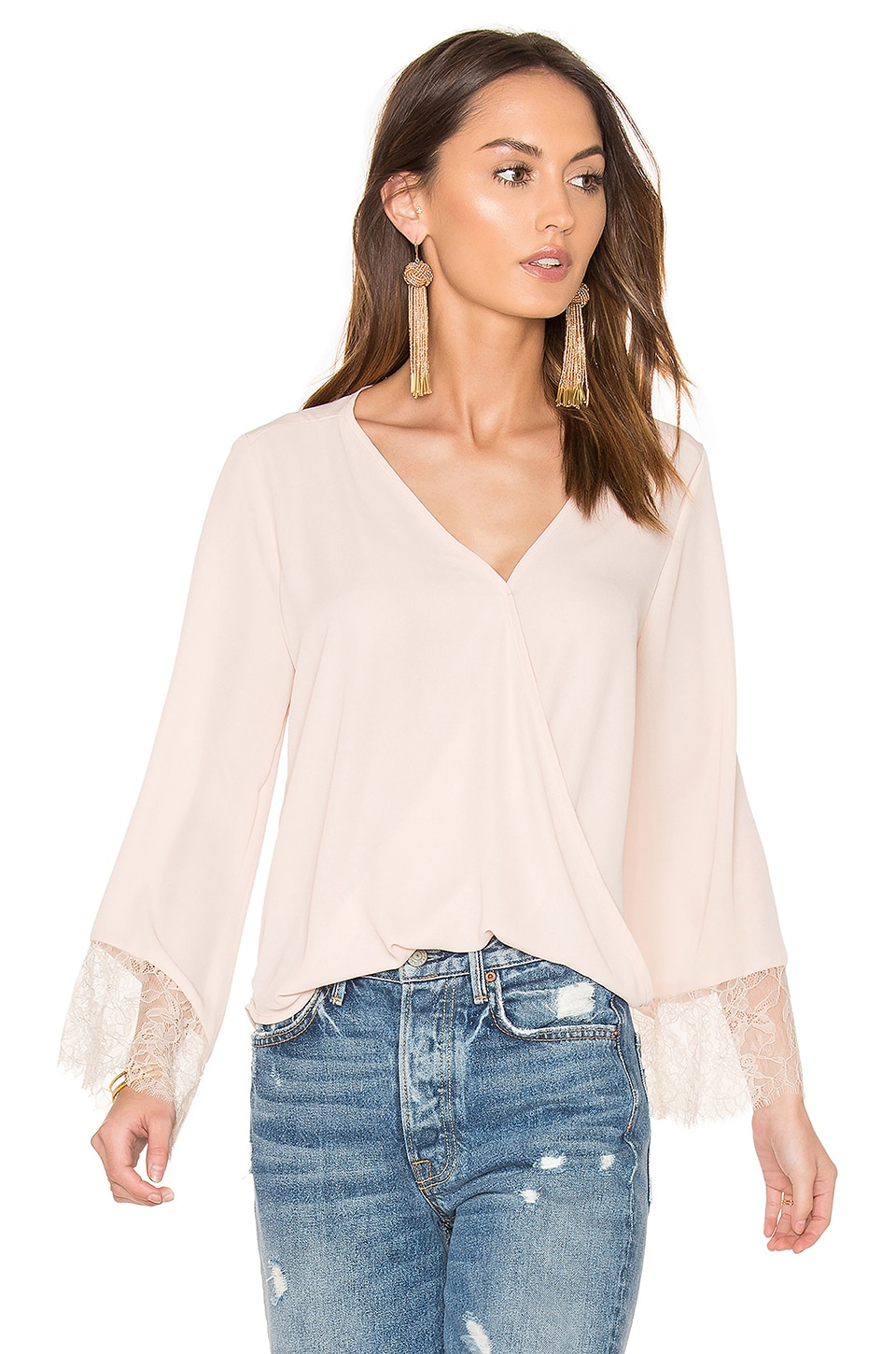 Wrap Front Bell Sleeve Lace Top by Eight Sixty