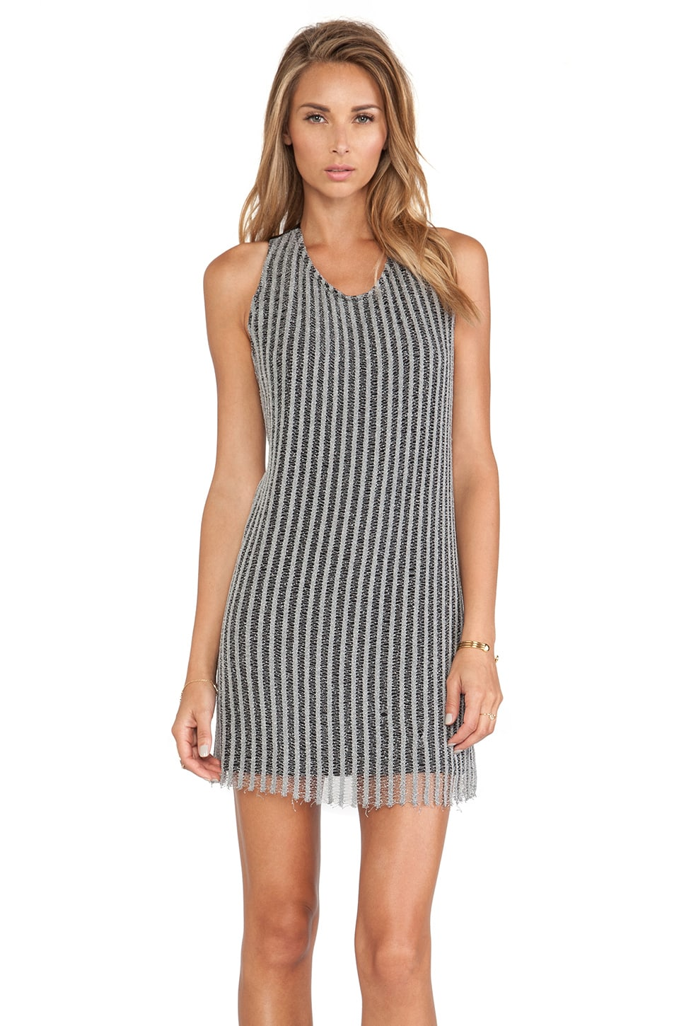 Erin Kleinberg Fiona Mini Dress in Grey & Black Leather