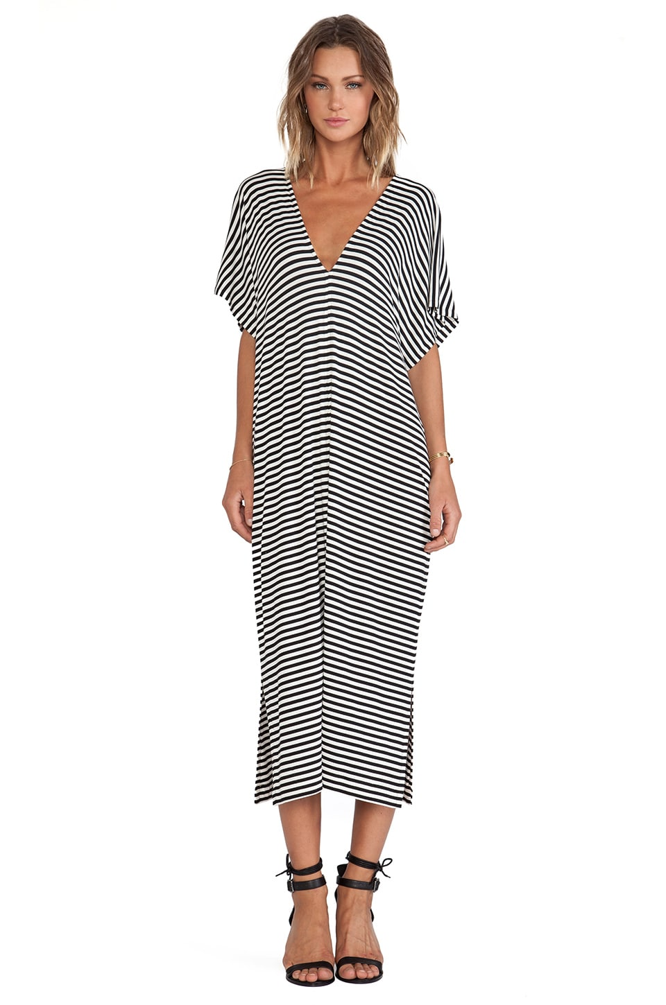 Erin Kleinberg Iseline Maxi Dress in Black & White Stripe