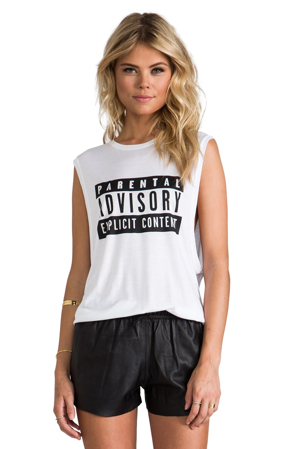 Elliott Label Location and Memos Parental Advisory Tank in White