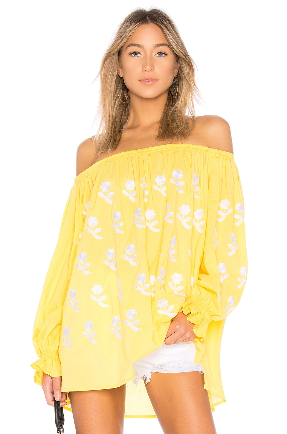 MARCH11 FLOWER POWER OFF THE SHOULDER TOP