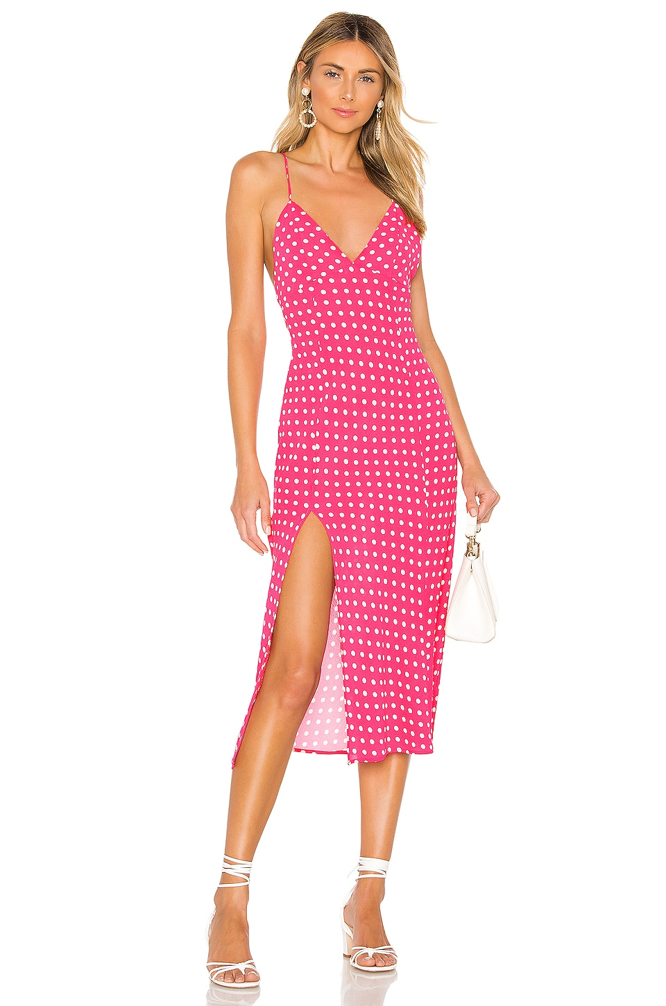 Endless Summer Harper Slip Dress in Hot Pink & White Polka Dot