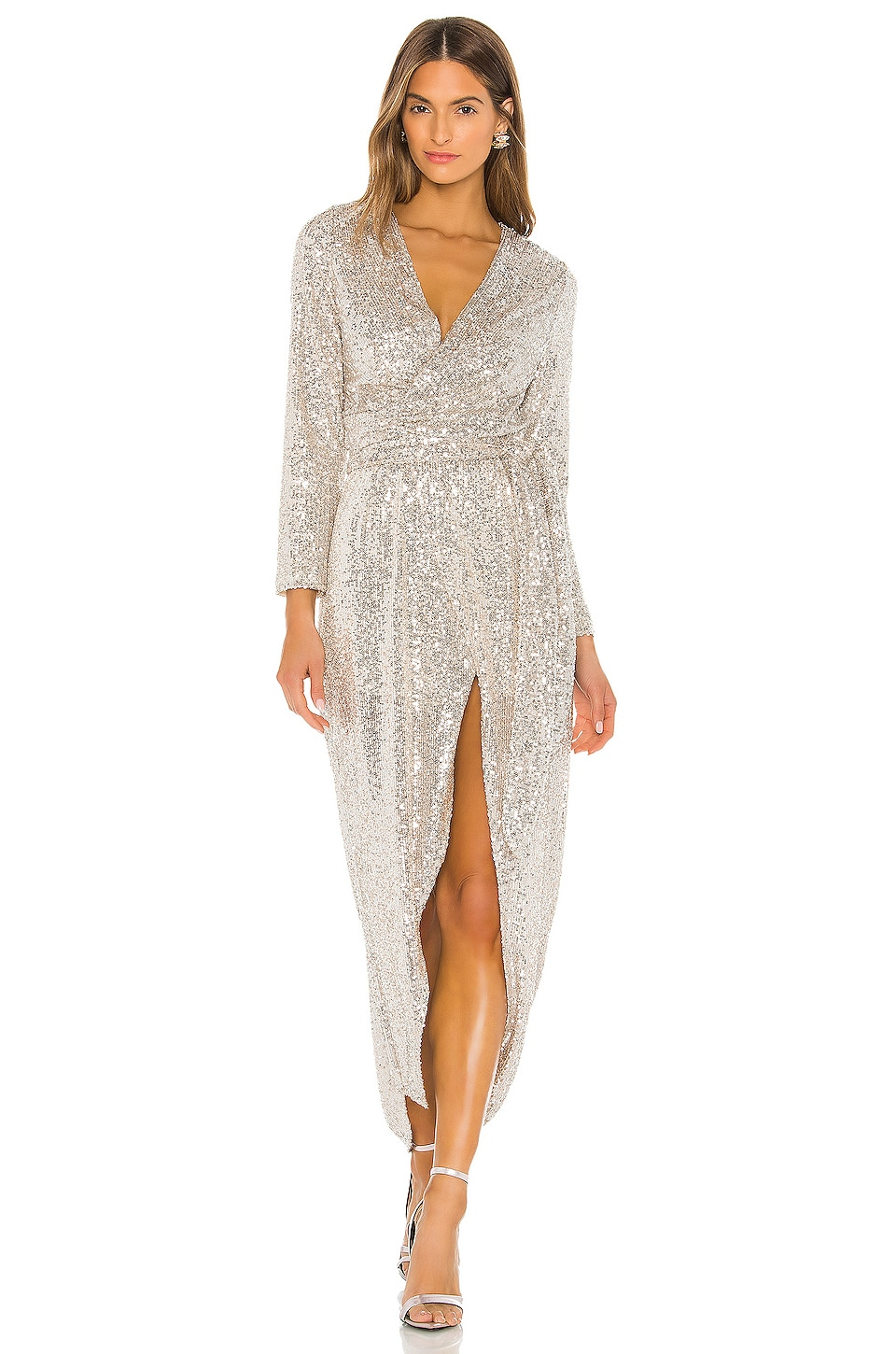 RESA Cher Maxi Dress in Silver Sequin