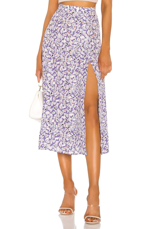 RESA Skatie High Slit Skirt in Purple Leopard