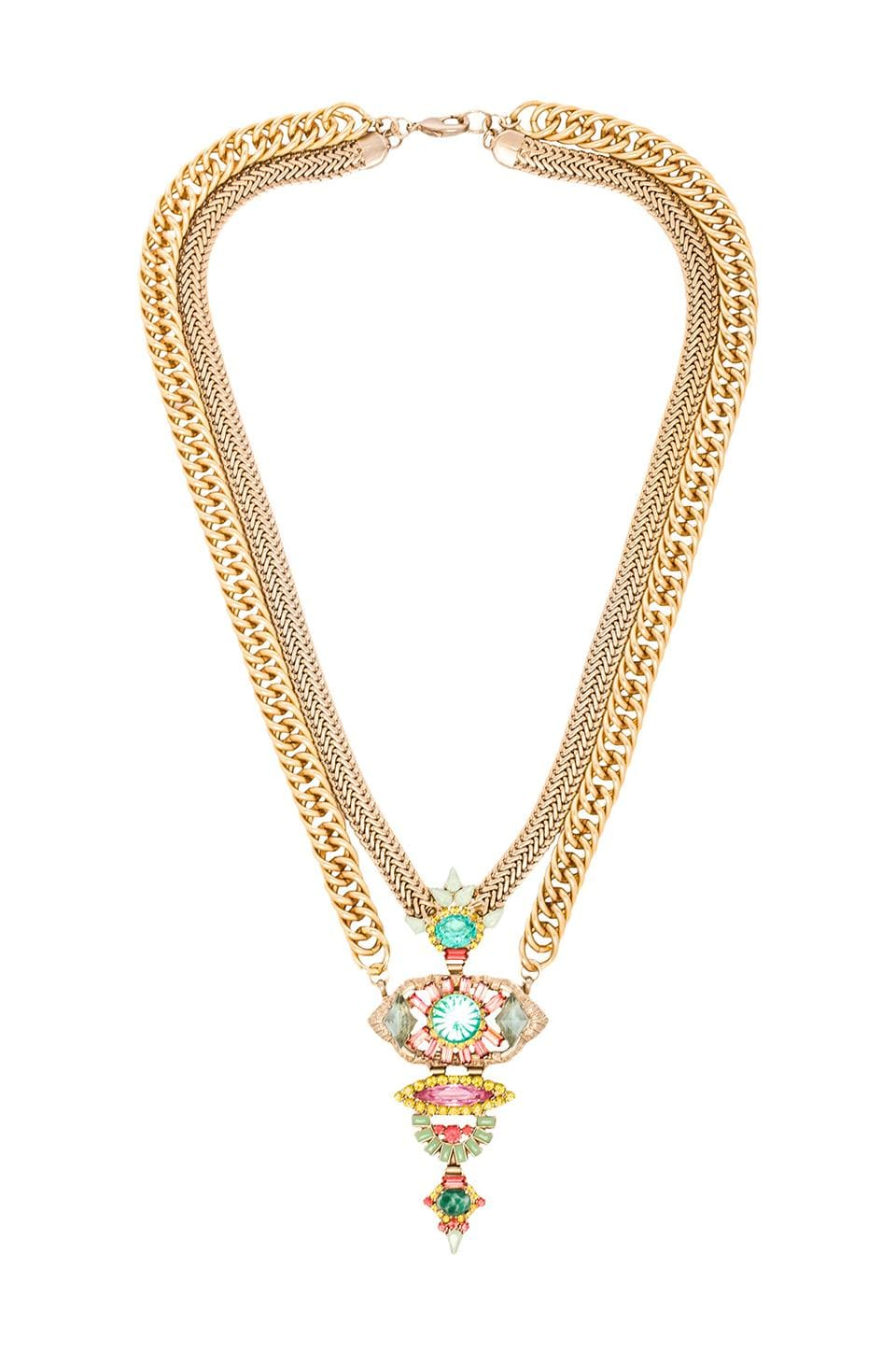 Elizabeth Cole Long Pendant Necklace in Coral Light Blue
