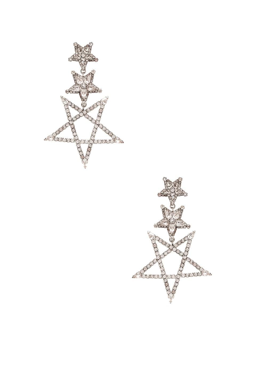 Elizabeth Cole Star Drop Earring in Silver