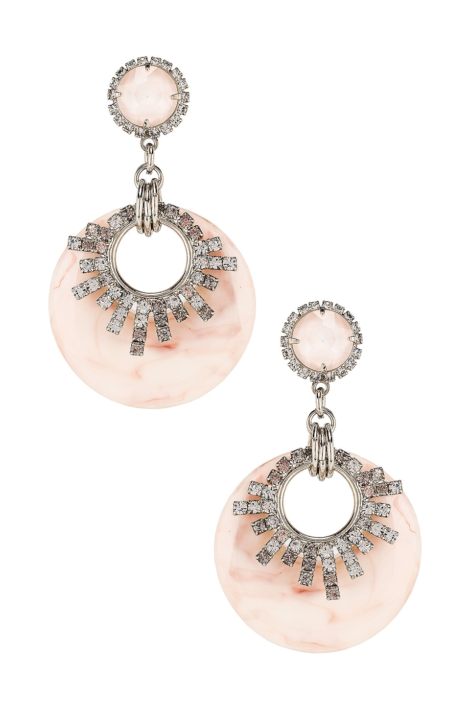 Elizabeth Cole Statement Earrings in Pink Marble