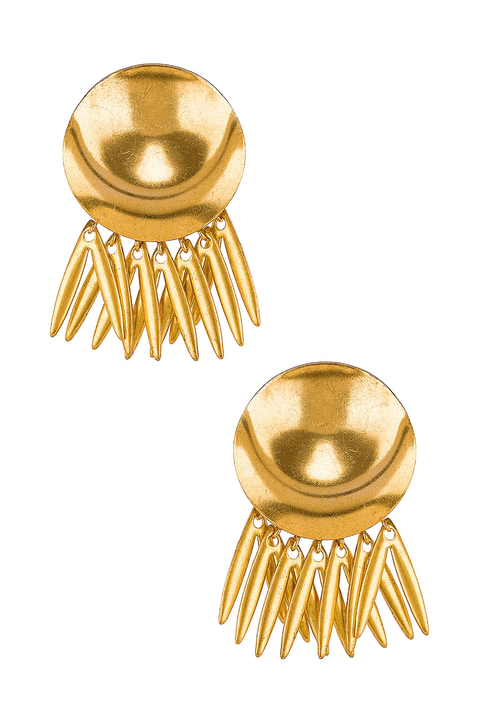 Elizabeth Cole Armor Fringe Earrings in Gold