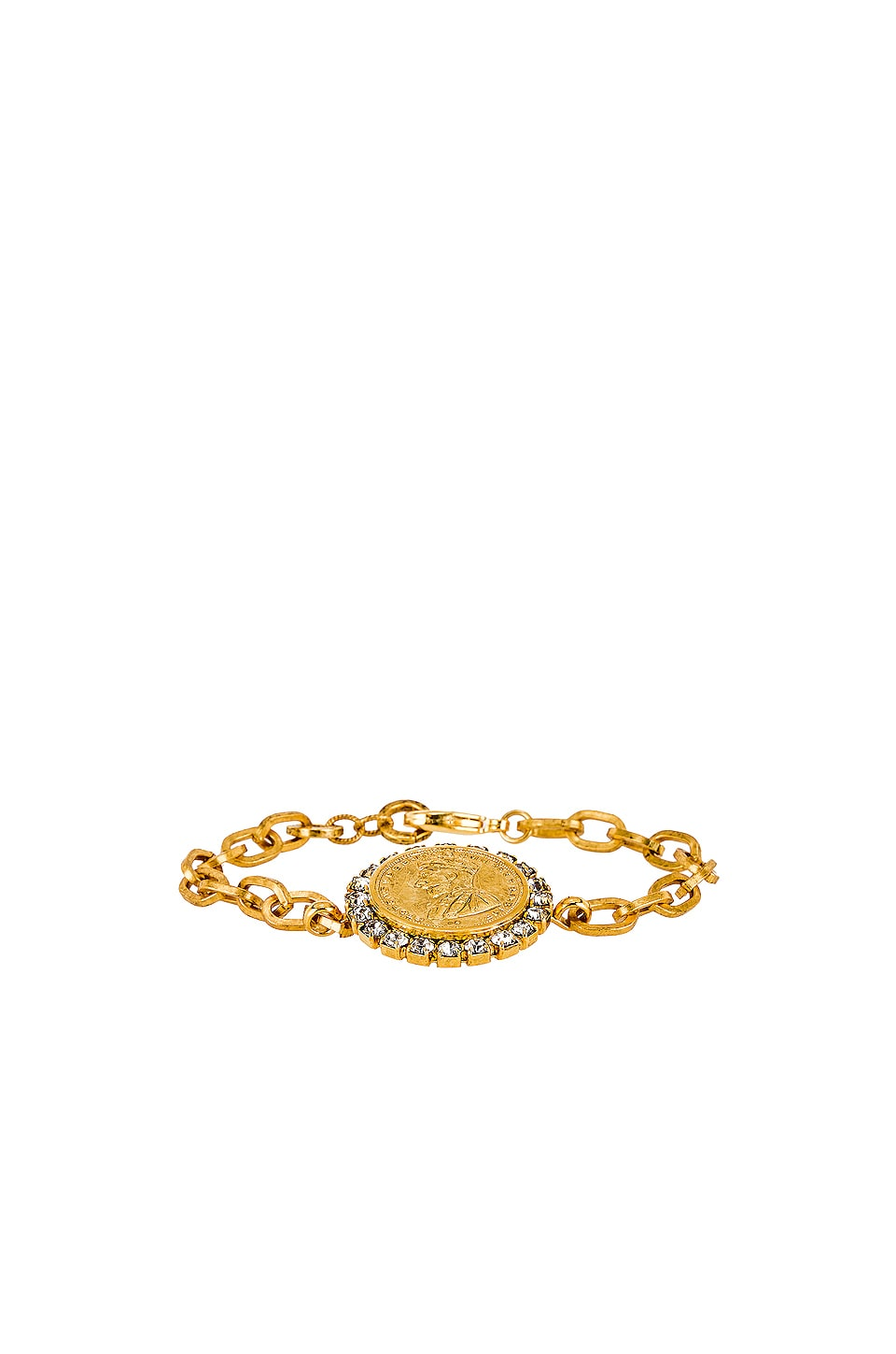 Elizabeth Cole Crystal Coin Bracelet in Gold