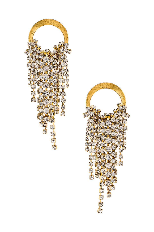 Elizabeth Cole Cascading Crystal Earrings in Gold