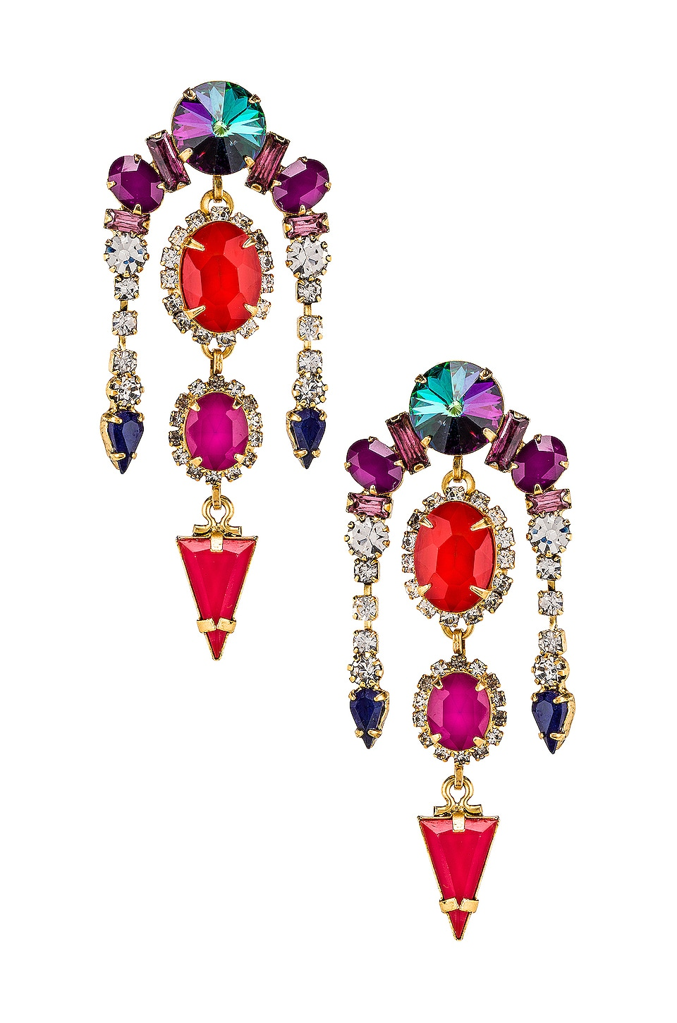 Elizabeth Cole Trio Drop Earring in Multi