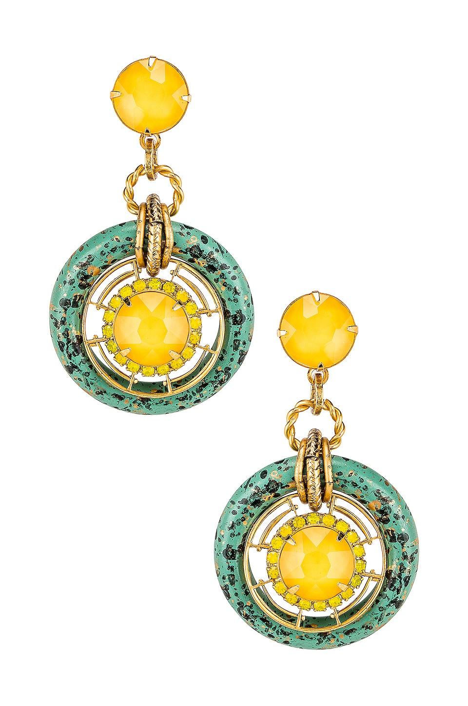 Elizabeth Cole Circle Drop Earring in Yellow