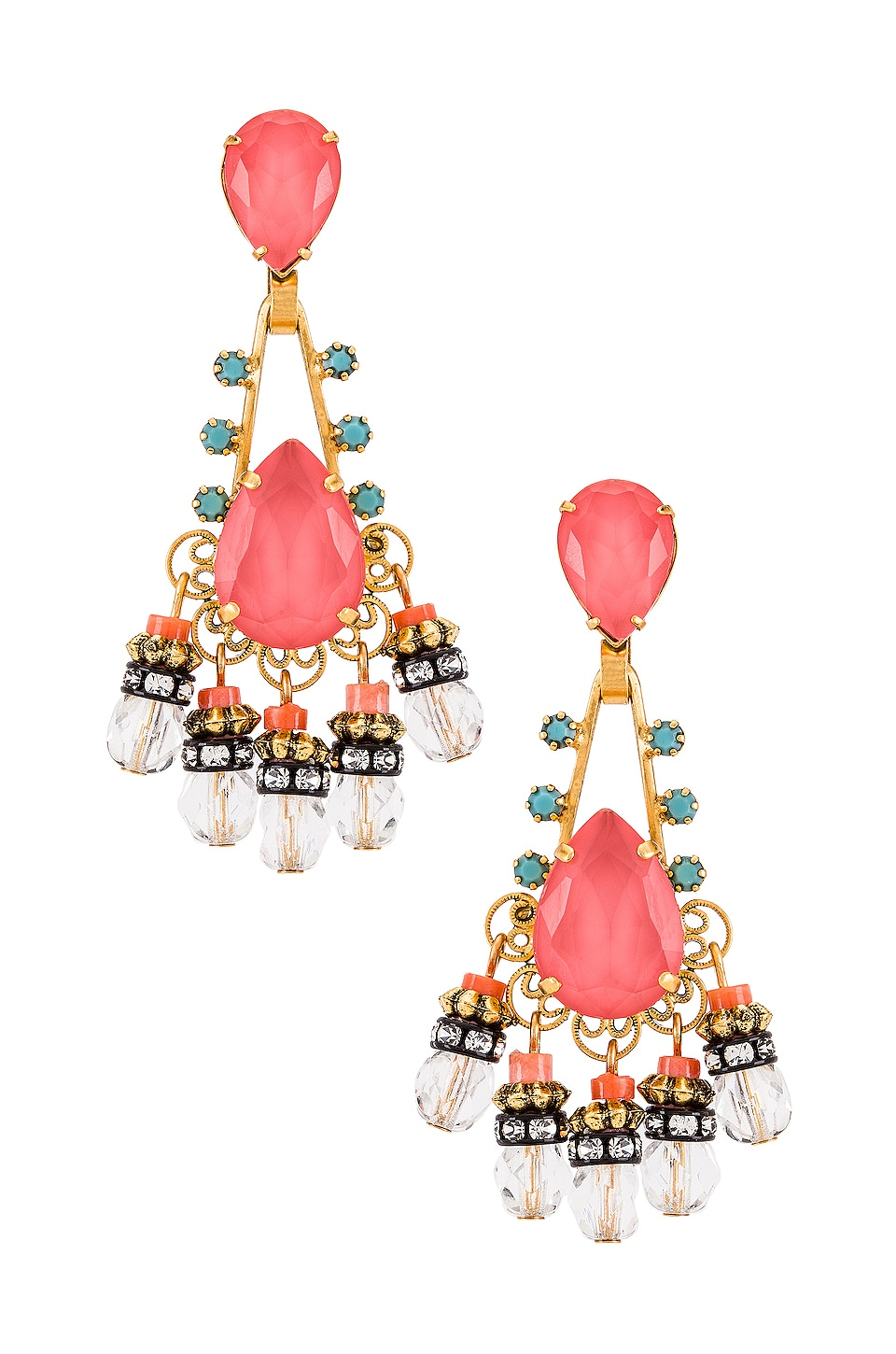 Elizabeth Cole Eloise Earrings in Coral