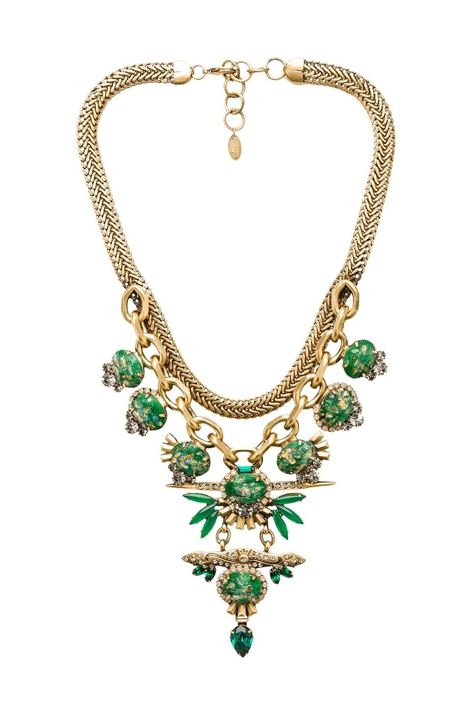 Elizabeth Cole Necklace in Green Speckled Stone