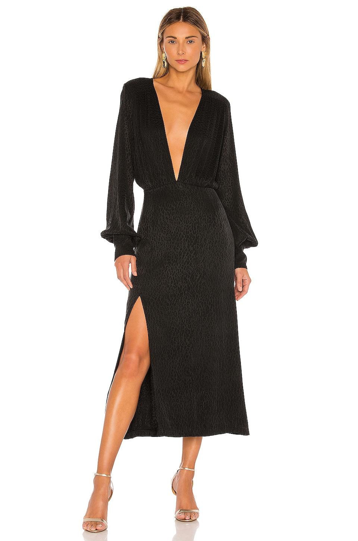ELLEJAY Emily Dress in Black Leopard
