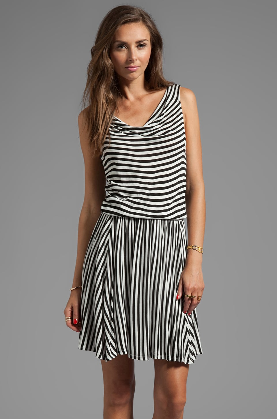 Ella Moss Gabi Stripe Dress in Black