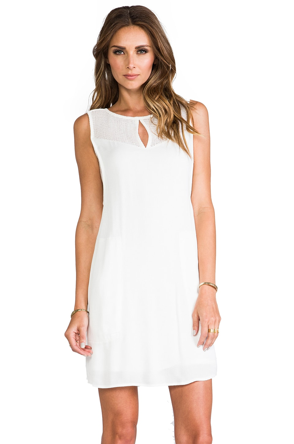 Ella Moss Stella Mesh Shift Dress in White