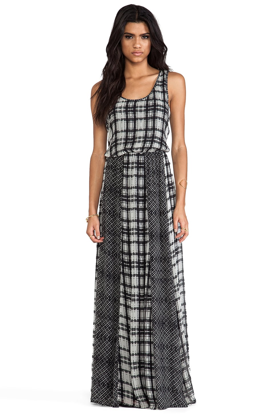 Ella Moss Paige Plaid Maxi Dress in Black