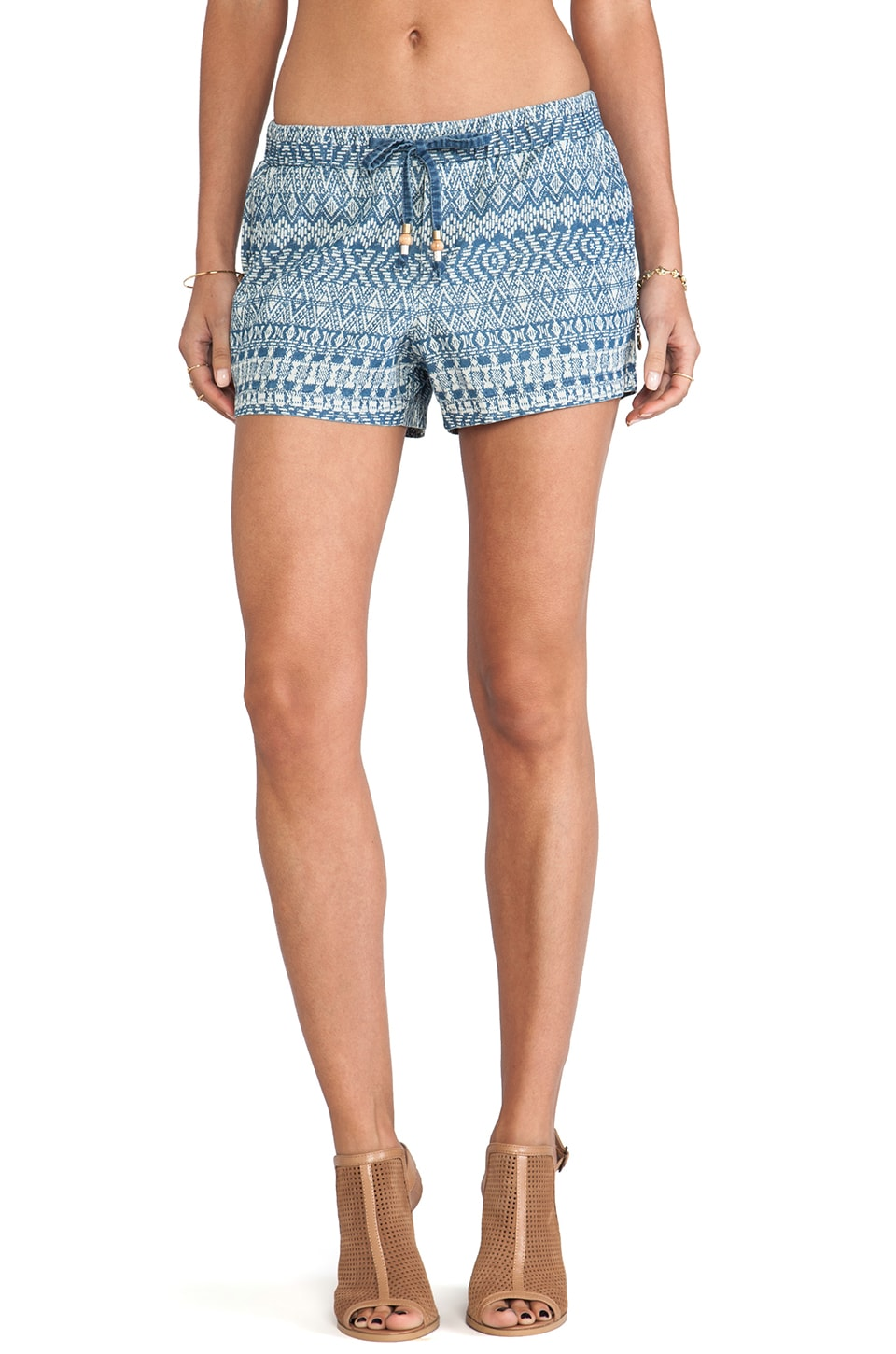 Ella Moss Paz Chambray Shorts in Printed Medium Wash