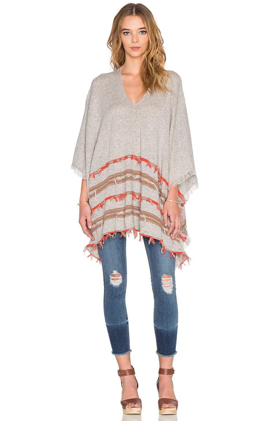 Ella Moss Ravenna Poncho in Heather Grey Multi