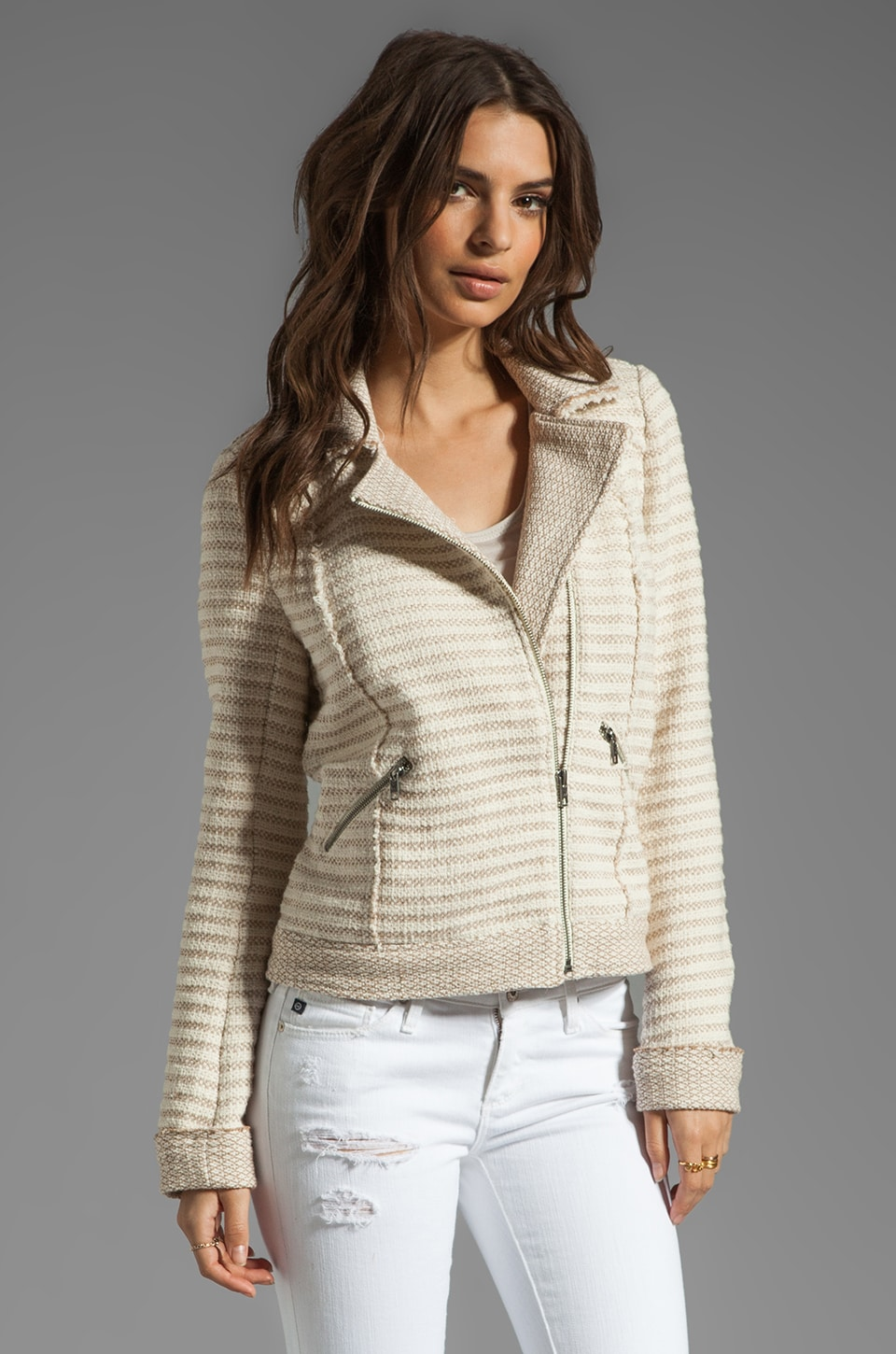Ella Moss Salinas Stripe Jacket in Linen/Cream