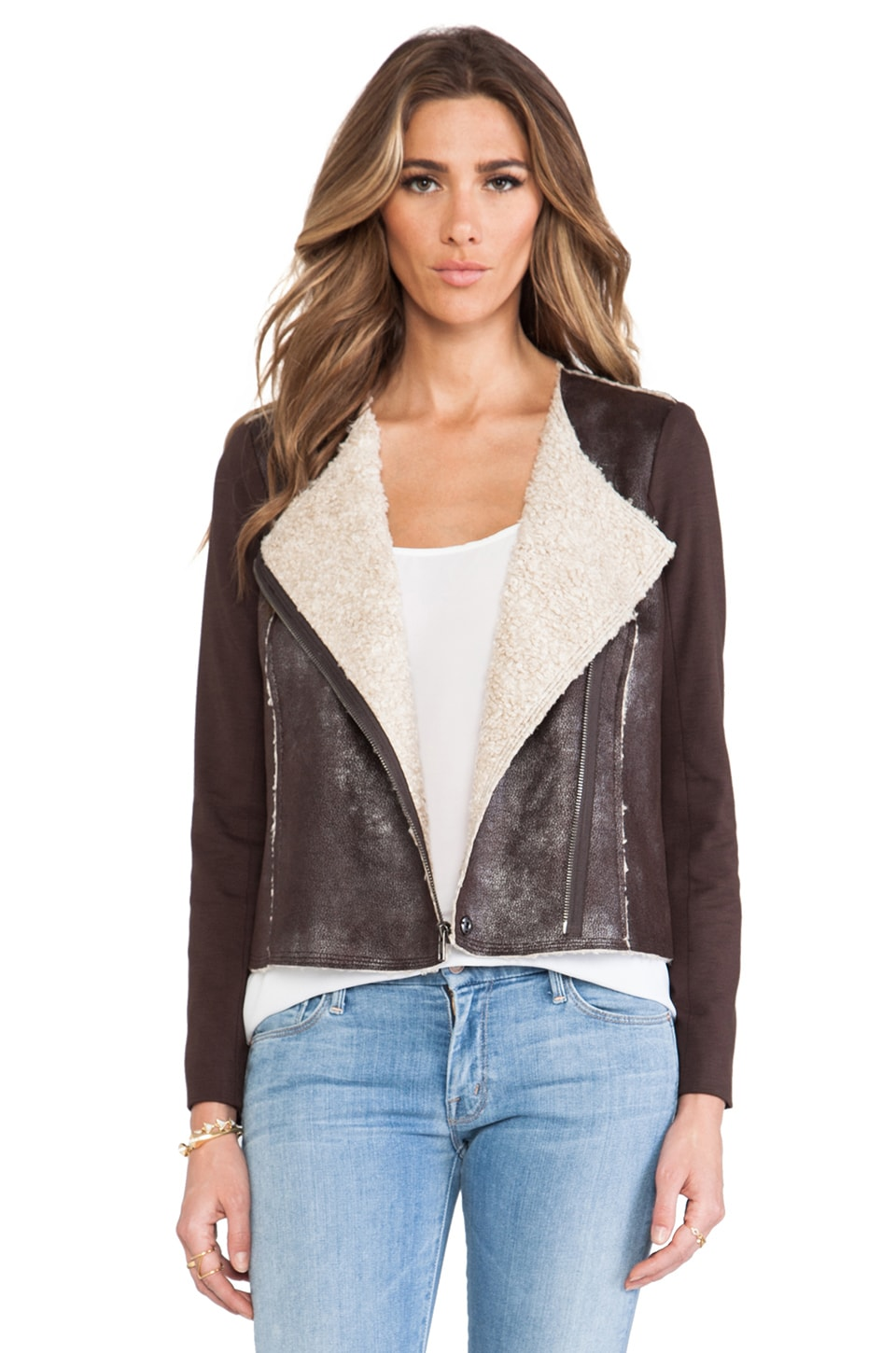 Ella Moss Riley Jacket with Faux Shearling in Sequola