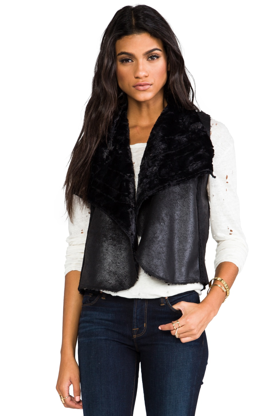 Ella Moss Nico Faux Fur Vest in Black