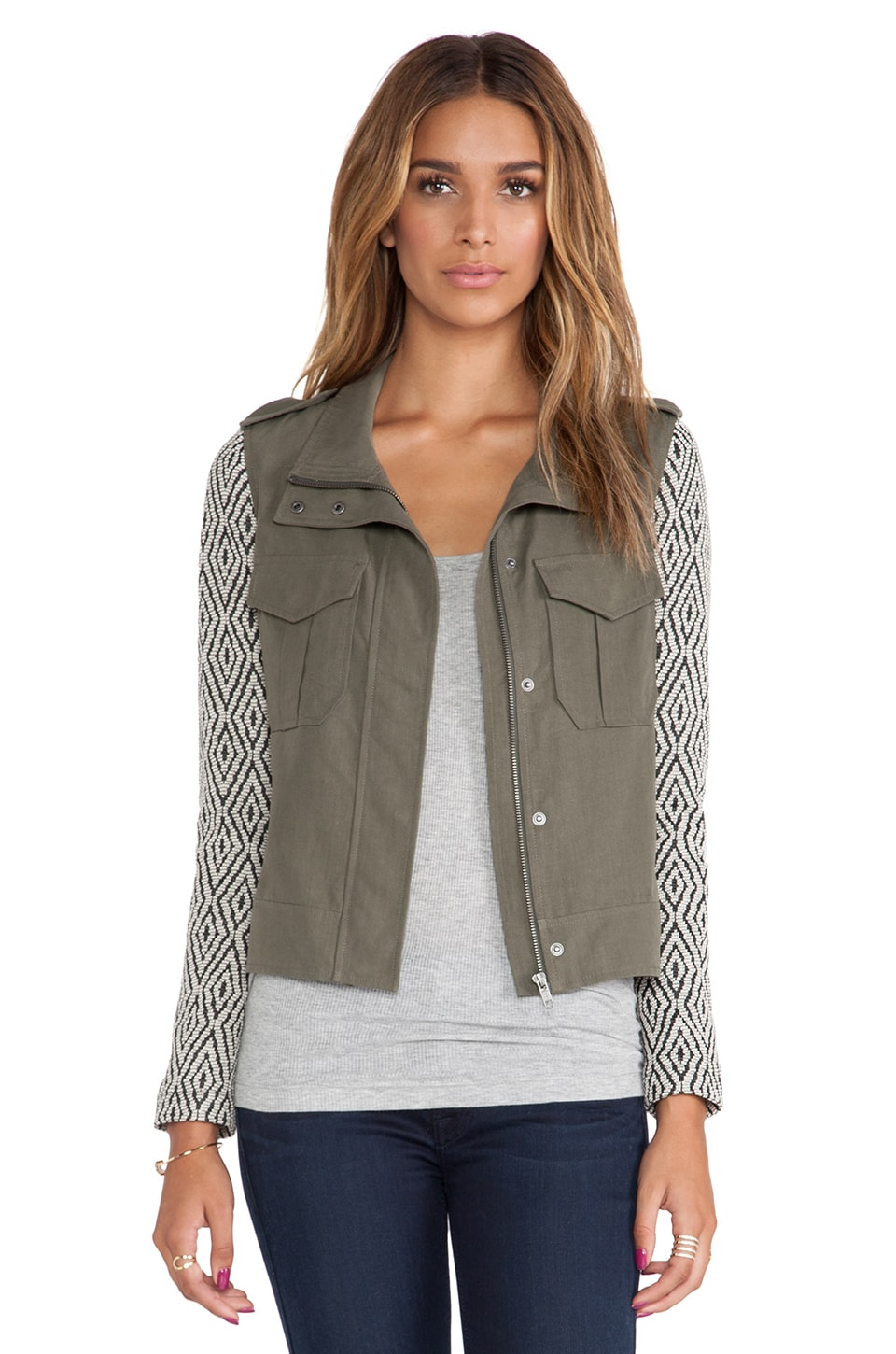 Ella Moss Minka Jacket in Olive & Natural