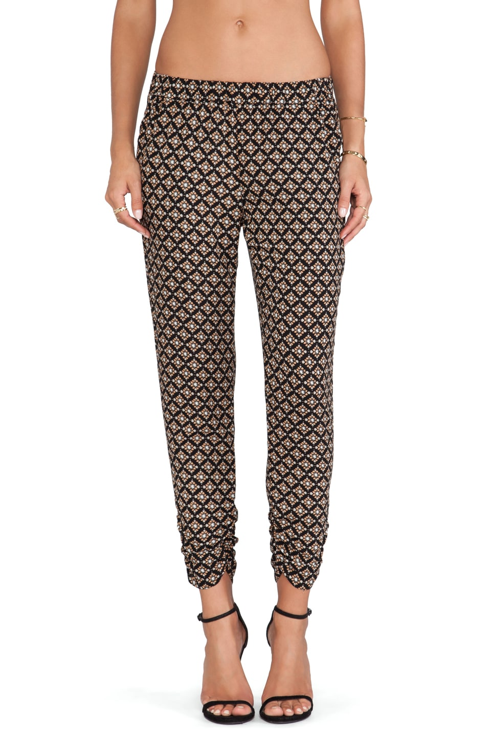 Ella Moss Ivana Printed Straight Leg Pants in Black