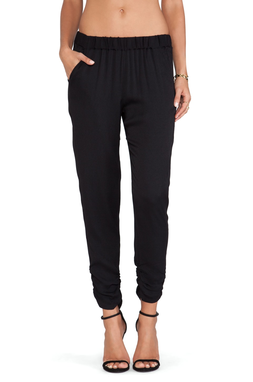Ella Moss Ivana Ruched Ankle Pants in Black