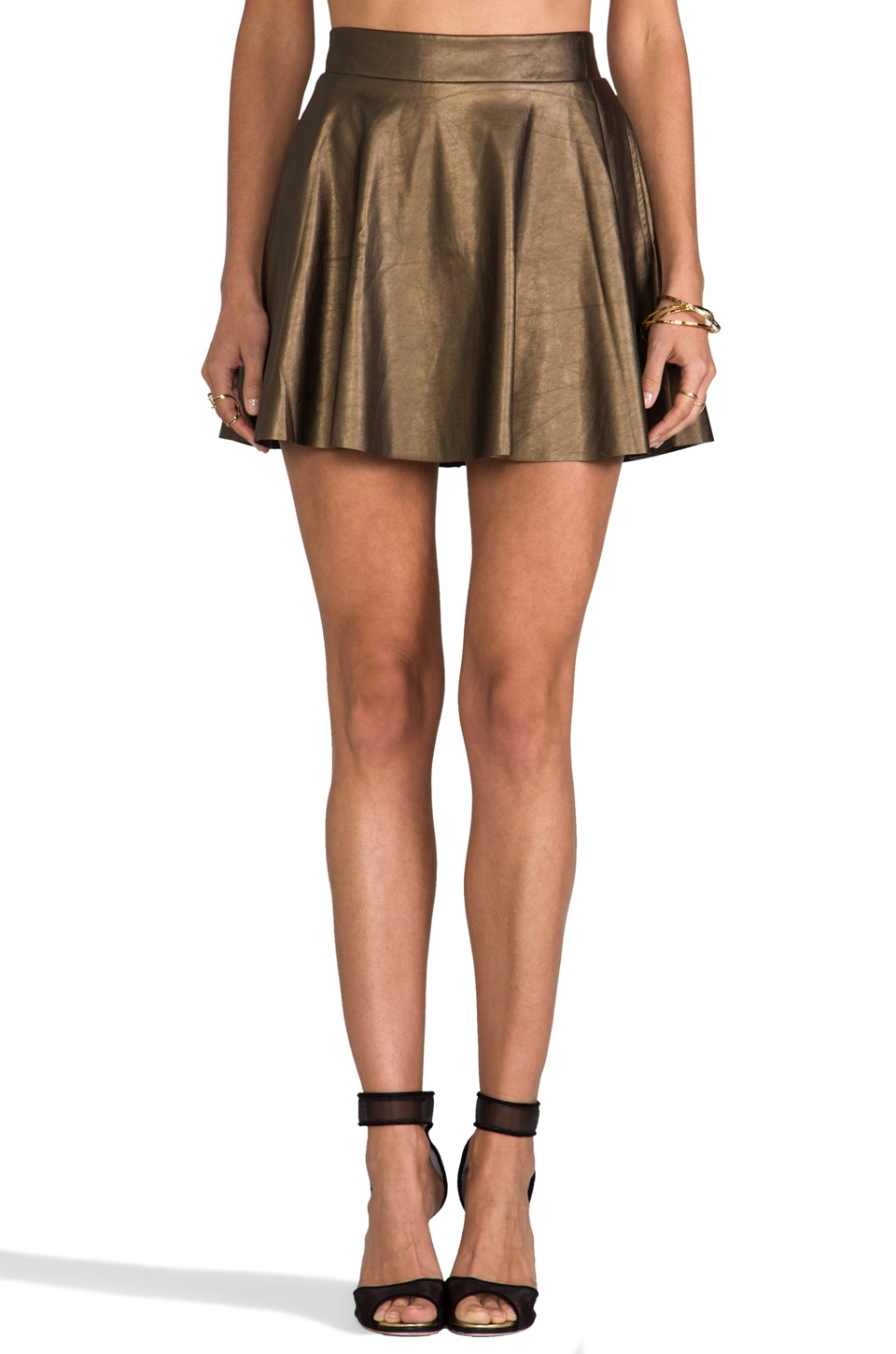 Ella Moss Sandra Faux Leather Skirt in Bronze