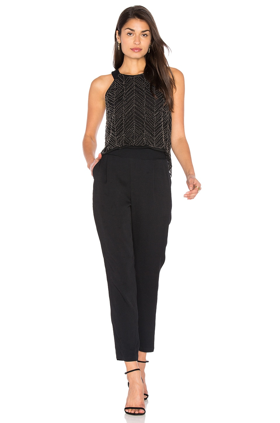 Frances Beaded Mesh Jumpsuit by Ella Moss