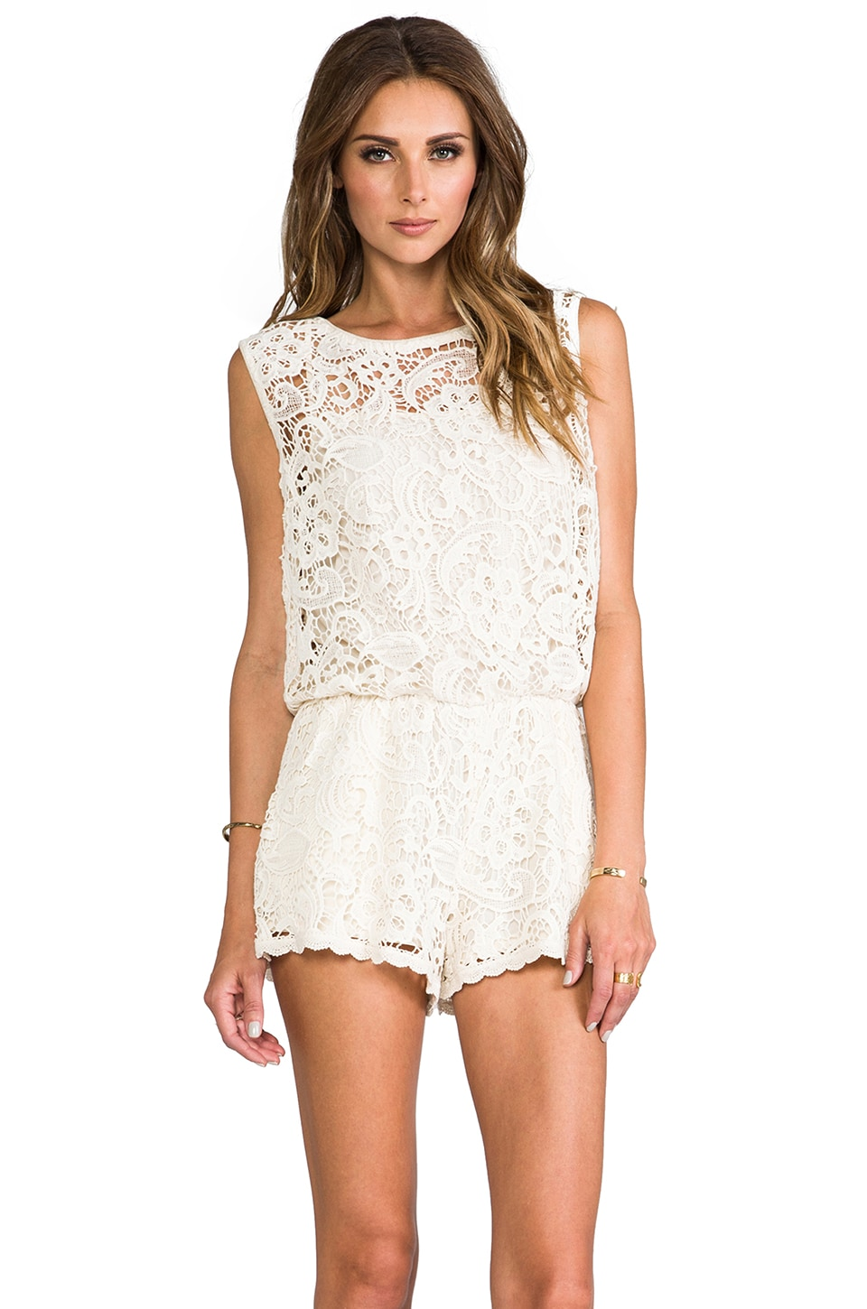 Ella Moss Jaime Lace Romper in Natural