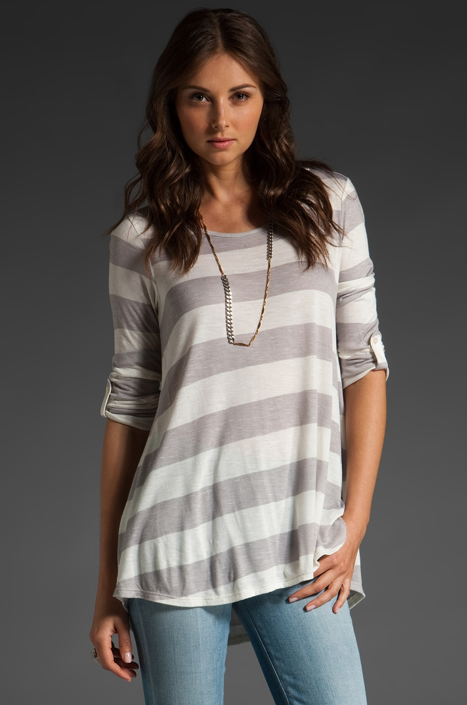 Ella Moss Penelope Stripe Scoop Top in Mist