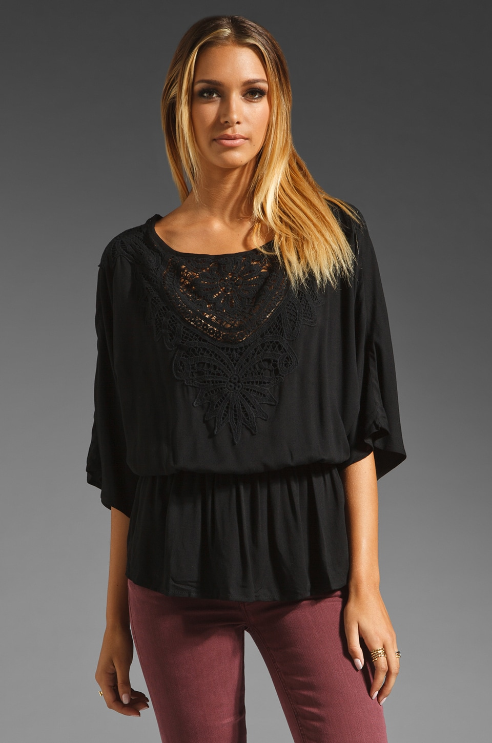 Ella Moss Valerie Lace Blouse in Black