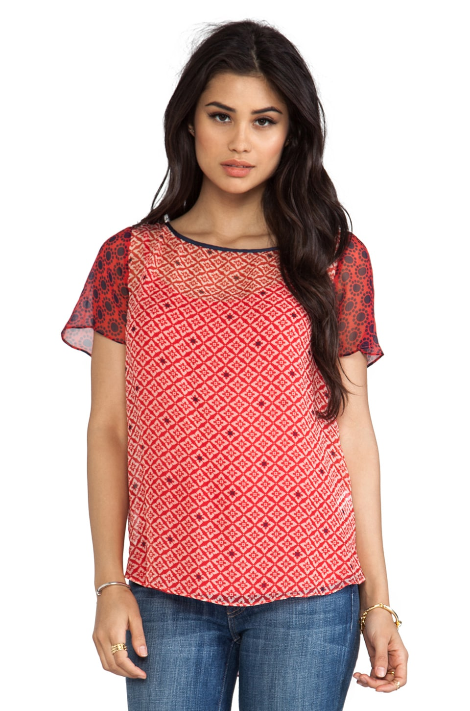 Ella Moss Sun Tile Mix Print Tee in Poppy