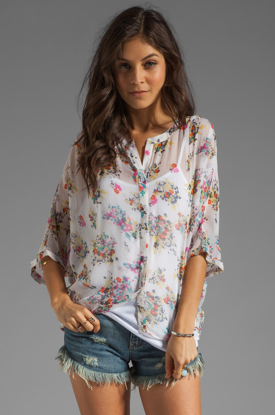 Ella Moss Citrus Floral Blouse in White