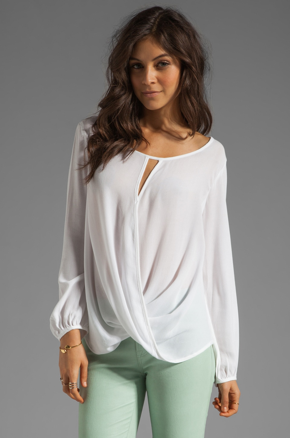 Ella Moss Stella Wrap Blouse in White