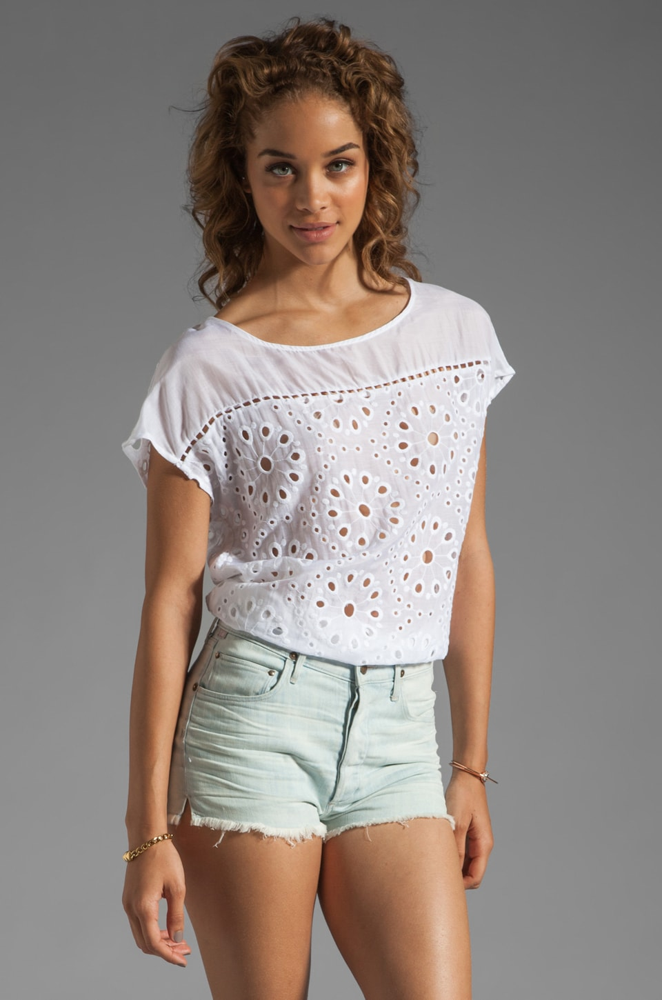 Ella Moss Heidi Eyelet Top in White