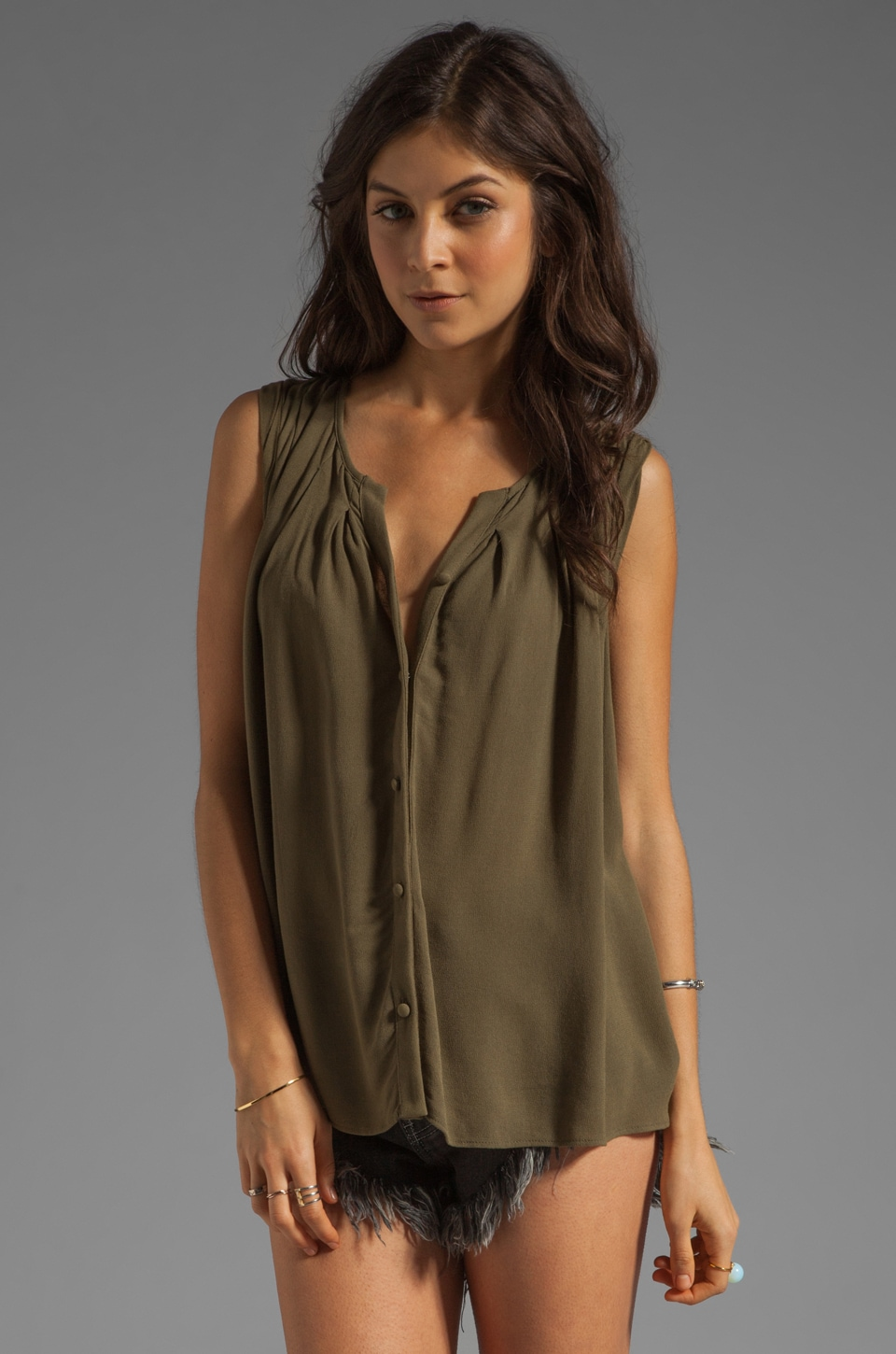 Ella Moss Stella Button Up Blouse in Olive
