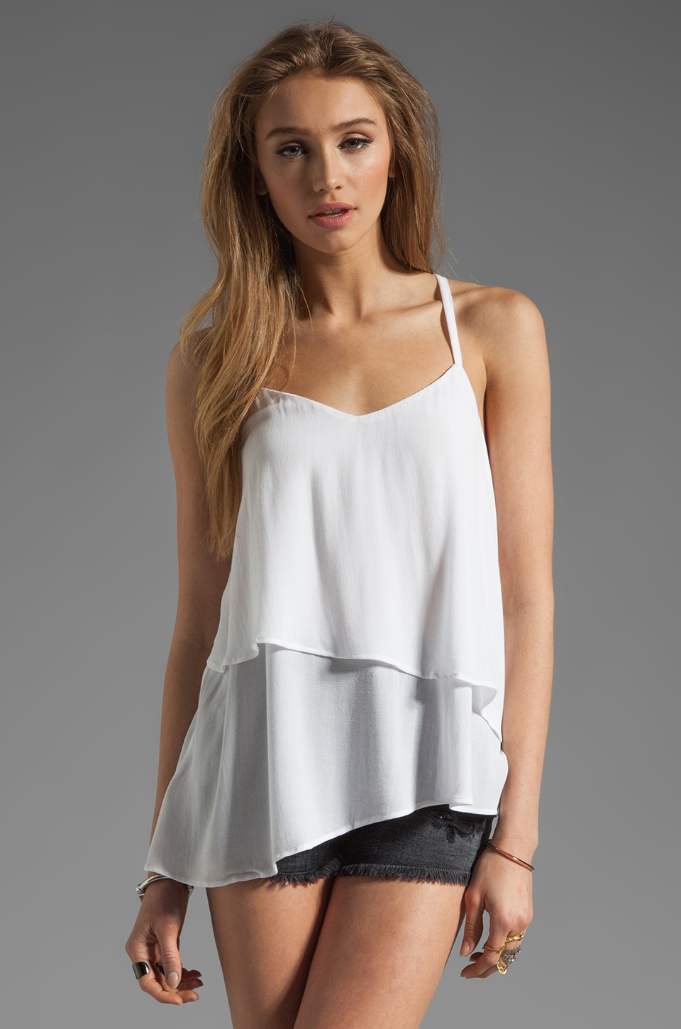 Ella Moss Stella Tiered Tank in White