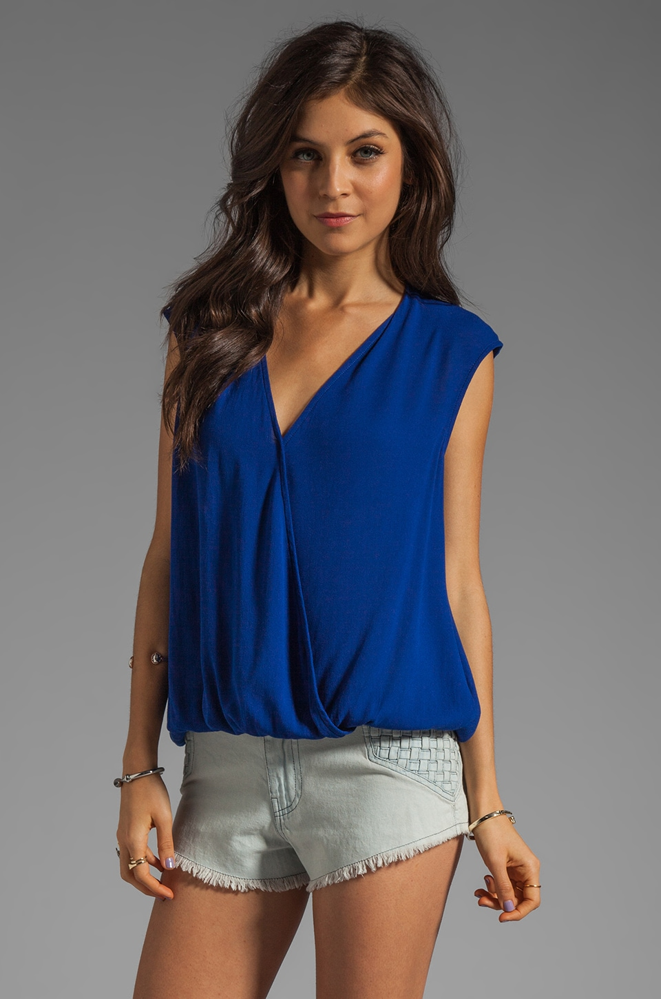 Ella Moss Stella Wrap Top in Royal
