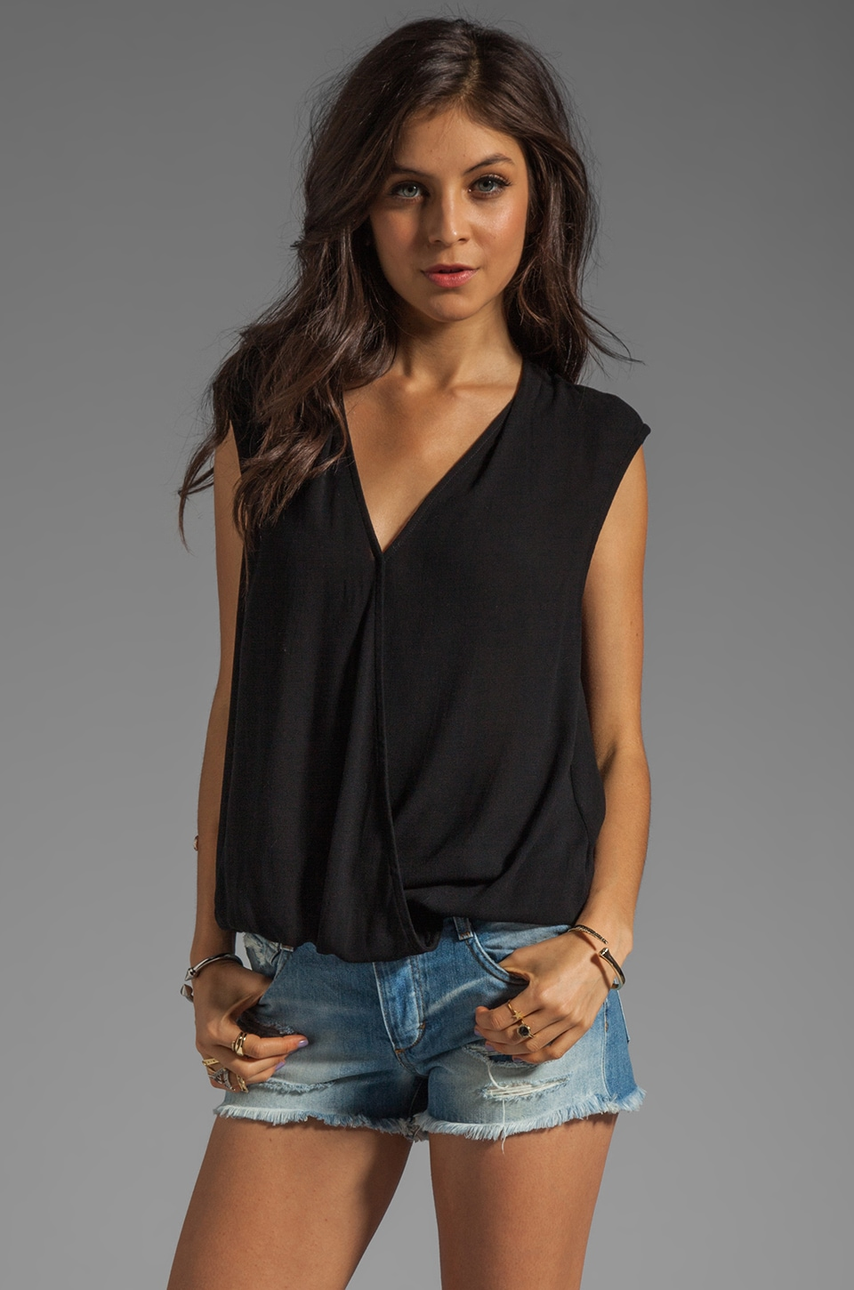 Ella Moss Stella Wrap Top in Black
