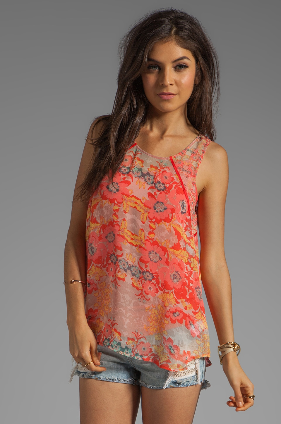 Ella Moss Floral Lei Tank in Coral