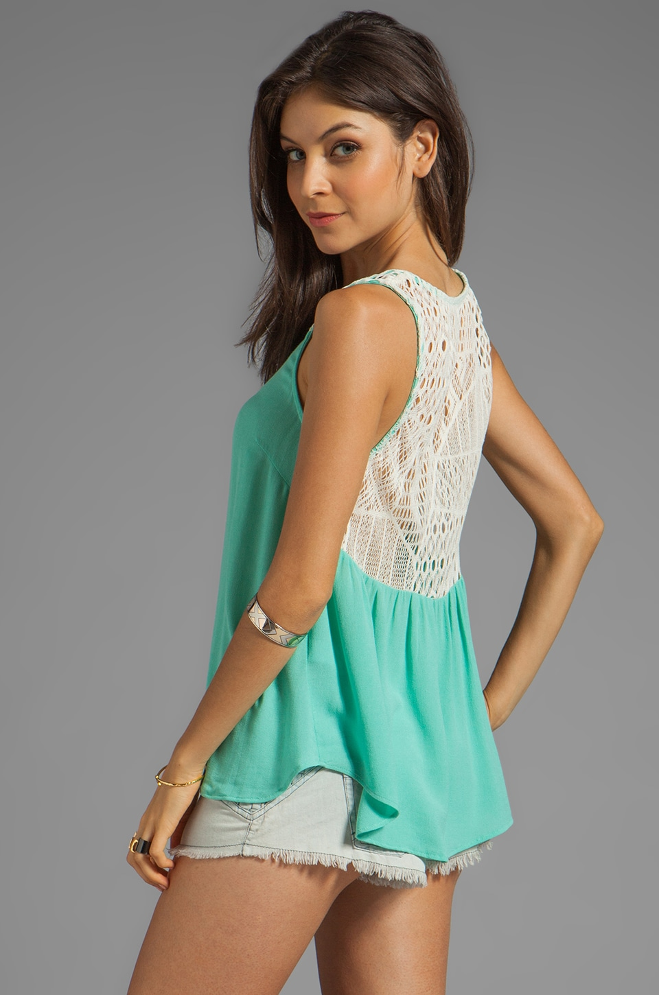 Ella Moss Lily Lace Tank in Mint