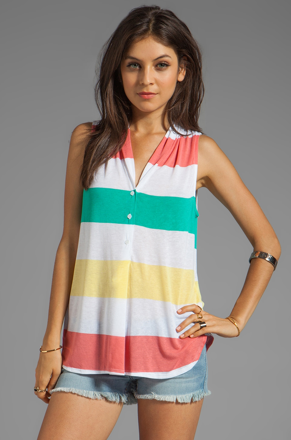 Ella Moss Aloha Stripe Top in Coral